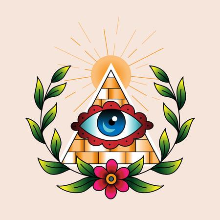 ojo de horus: S�mbolo de los alba�iles en corona de laurel. Estilo tradicional de color del tatuaje