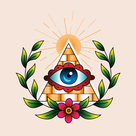 illuminati: Symbol of the masons in laurel wreath. Traditional style color tattoo