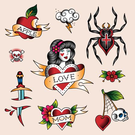 manzana caricatura: Conjunto de tatuajes de colores en el estilo tradicional de la vendimia