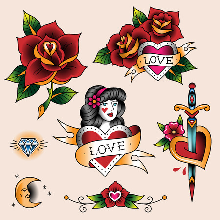 love rose: Set of  romantic tattoos in traditional vintage style