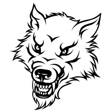 perro furioso: Cabeza estilizada del lobo agresivo. Ilustración blanco y negro