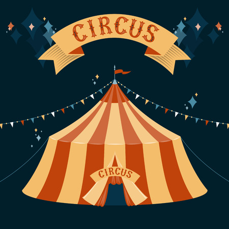 The dome of the circus tent illustration on dark background