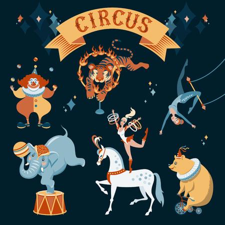 acrobacia: Un conjunto de personajes de circo ilustraci�n sobre fondo oscuro Vectores