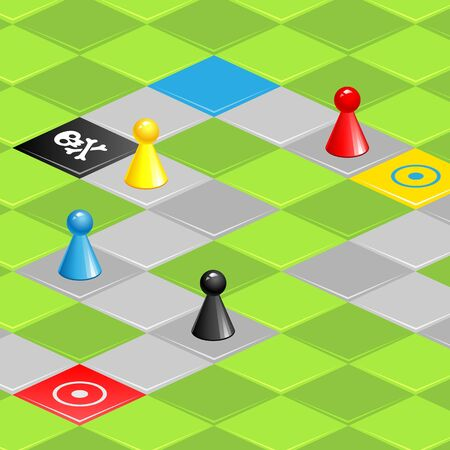 gaming: Color gaming pieces on gaming field Illustration