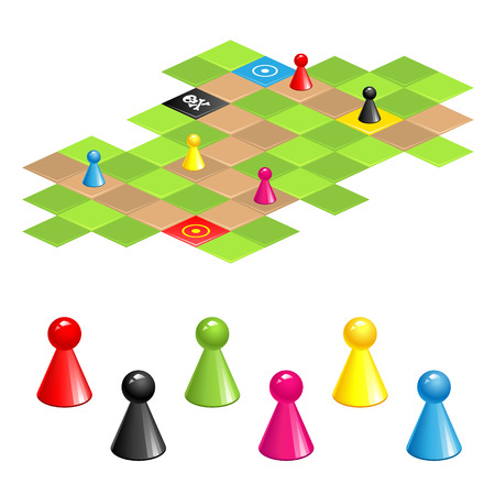 board game: Set of color gaming pieces and  gaming field isolated on white background