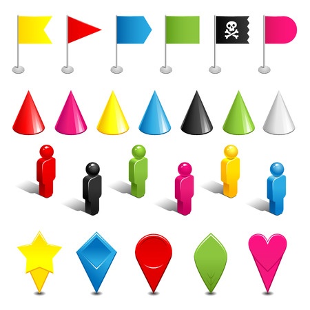 gaming: Set of color plastic gaming pieces and tags isolated on white