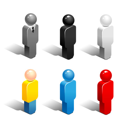 Set of abstract figures of people isolated on white background