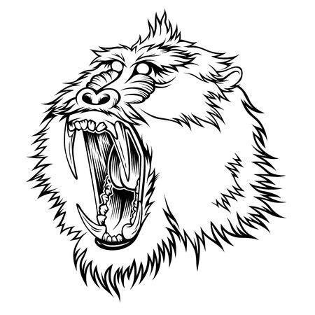 aggressive: Stylized head of aggressive monkey Illustration