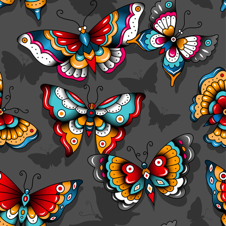 Old-school butterflies on a dark background. Seamless pattern for your design