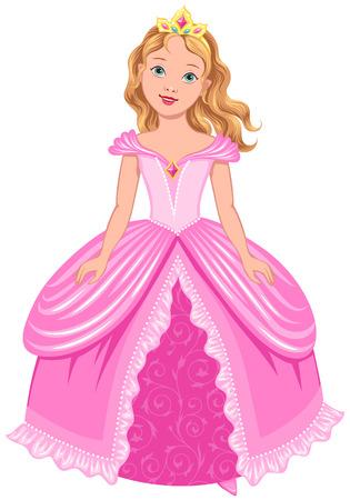 corona de princesa: Princesa linda en vestido de color rosa aisladas sobre fondo blanco