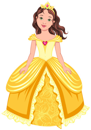 Pretty princess in yellow dress isolated on white background