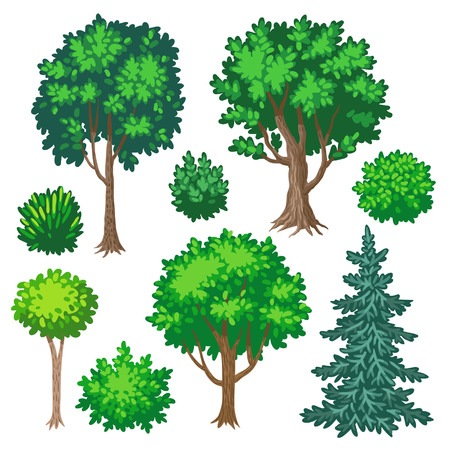 흰색 배경에 고립 된 만화 나무와 관목의 설정 일러스트