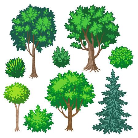 arboles de caricatura: Conjunto de árboles y arbustos de dibujos animados aislado en el fondo blanco