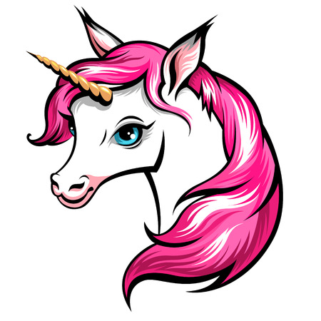 Head of cute white unicorn with pink mane isolated on white