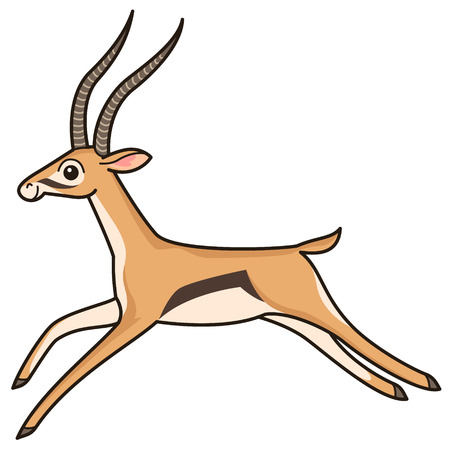 antelope: Cartoon character. Running antelope isolated on white background
