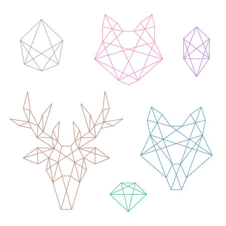 foxes: A set of several polygonal objects. Animal heads and crystals Illustration