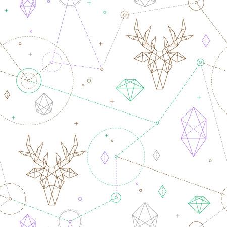 流行に敏感なシームレスなパターン。鹿でファッショナブルな幾何学的な飾り。