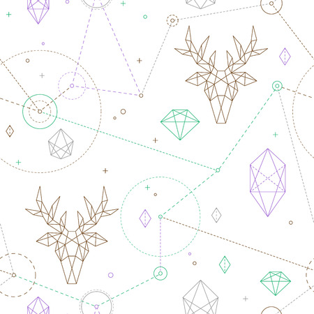 Hipster seamless pattern. Fashionable geometric ornament with deer. Vettoriali