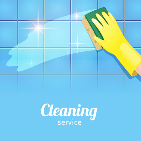 Concept background for cleaning service. Hand in yellow glove cleans the blue tile