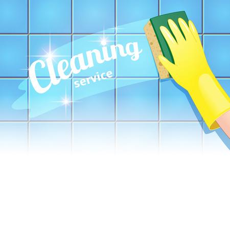 higienizar: Fundo do conceito de servi�o de limpeza. M�o na luva amarela limpa o azulejo azul Ilustra��o
