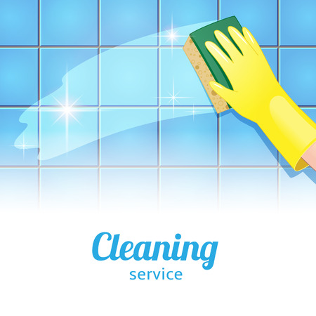 clean home: Concept achtergrond voor de schoonmaak. Hand in gele handschoen reinigt de blauwe tegel Stock Illustratie