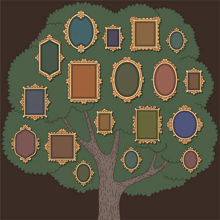 family history: Family tree with several old-fashioned vignette frames on dark background. Cartoon template  for your design