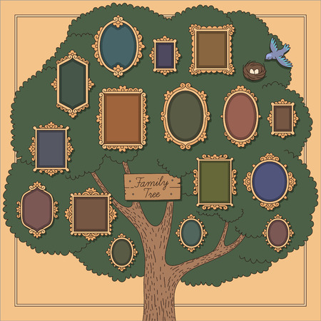 Family tree with several old-fashioned vignette frames on yellow background. Cartoon template  for your design  イラスト・ベクター素材