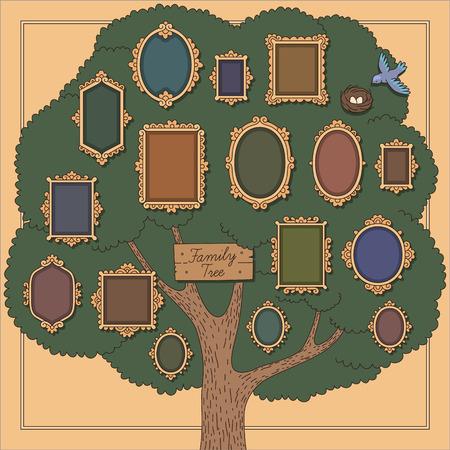 Albero genealogico con molti vecchio stile cornici vignette su sfondo giallo. Modello del fumetto per la progettazione Archivio Fotografico - 38682985