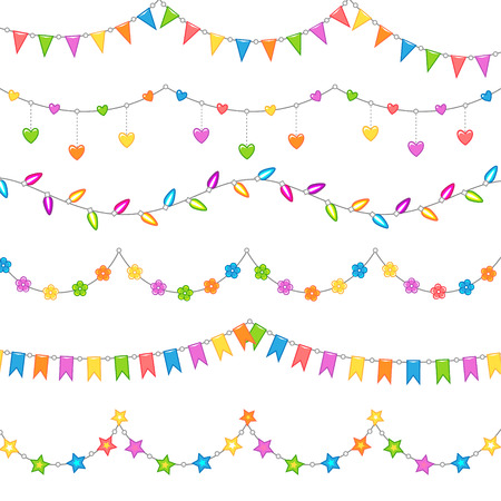Set of multicolor garlands for holiday decoration isolated on white background. Illustration for your design Illustration