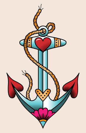 old pier: Sea anchor. Color tattoo in traditional old school style