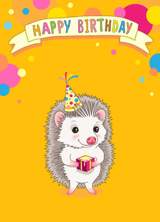 Cute template  for birthday party invitation. Smiling hedgehog with gift on yellow background