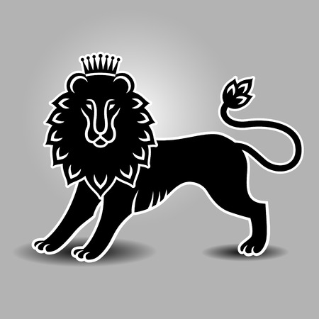 standing lion: Standing lion in the crown. Heraldic symbol for your design
