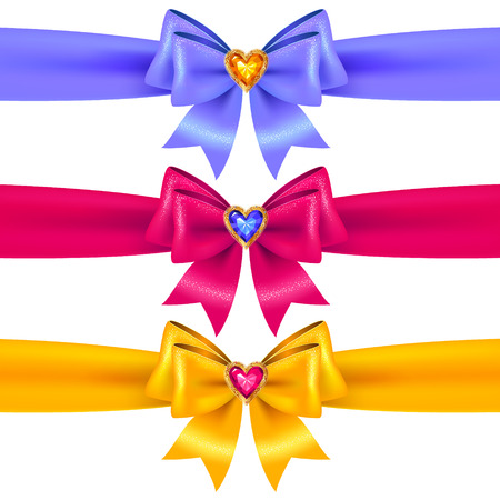 crystal heart: Set of blue, pink and yellow  bows with crystal heart  for holiday design and decoration
