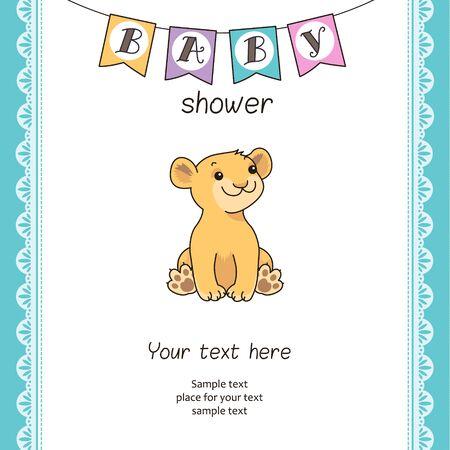 leon bebe: Linda plantilla de tarjeta de Baby Shower con el león de la historieta.