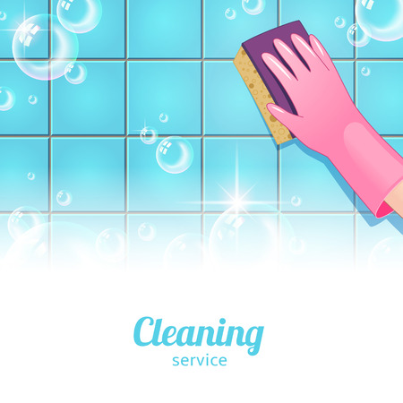 sponges: Concept background for cleaning service. Hand in pink glove and bubbles