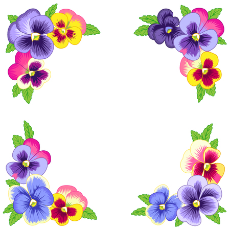 Decorative elements of pansies. Vintage floral corners for your design