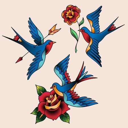 tatouage: Set de tatouages ??oldschool. Hirondelles et les fleurs Illustration