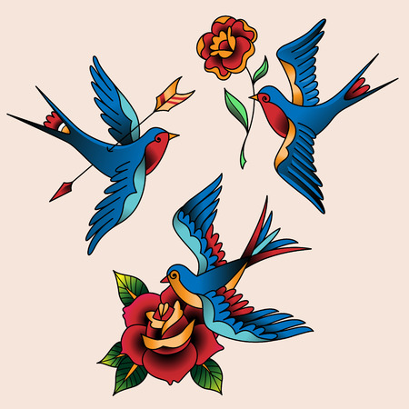 bird of paradise: Set of oldschool tattoos. Swallows and flowers