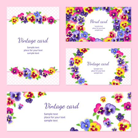 garland border: Set of templates of floral cards for your design.
