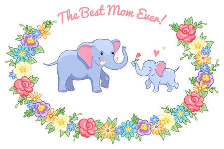 Personajes De Caricatura. Pequeño Elefante Da Una Flor A La Mamá ...