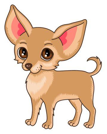 cane chihuahua: Personaggio dei cartoni animati. Cane chihuahua carino isolato su sfondo bianco