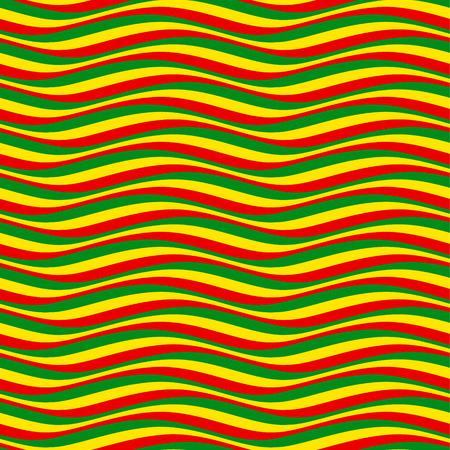 rastafarian: Abstract seamless pattern. Multicolor wavy lines in rastafarian style Illustration