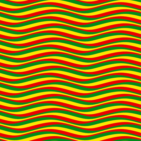 Abstract seamless pattern. Multicolor wavy lines in rastafarian style Vettoriali