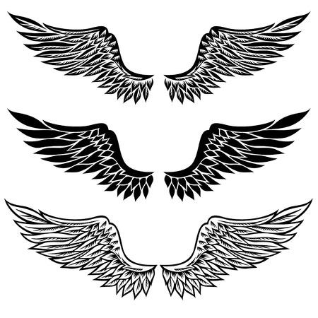 tatouage ange: Ensemble de fantaisie stylisée ailes isolé sur blanc Illustration