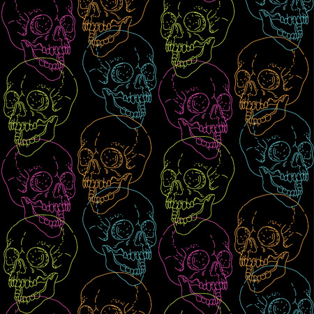 Color human skulls, drawn by lines on black background. Seamless pattern