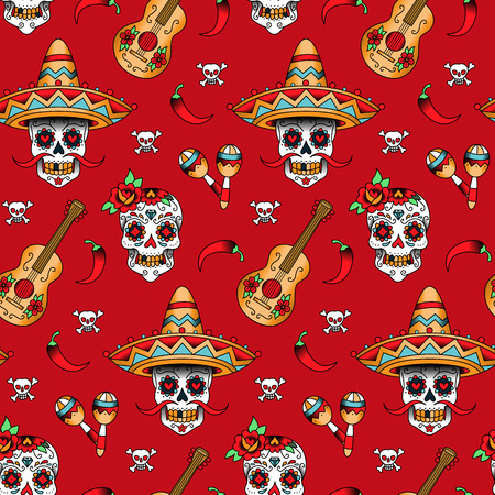 Mexican sugar skulls with chili pepper on a red background. Seamless pattern Illustration