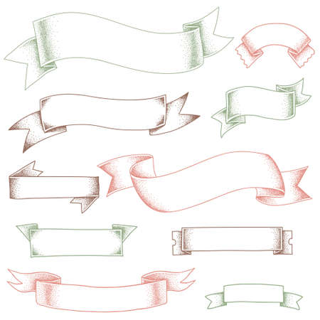 decoration elements: Volume ribbons with noise shadows. Elements for design and decoration