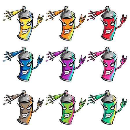 dispensing: Set of color paint splatters. Cartoon characters for your design.