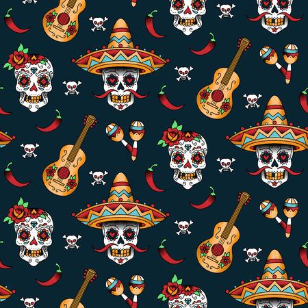 calaveras: Azucarera mexicana cráneos con pimienta de chile sobre un fondo azul. Patrón transparente Vectores