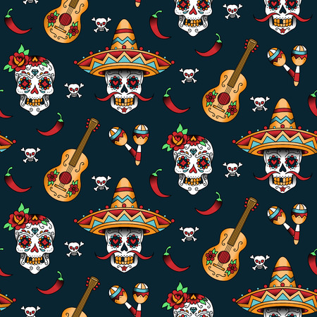 skeleton cartoon: Mexican sugar skulls with chili pepper on a blue background. Seamless pattern
